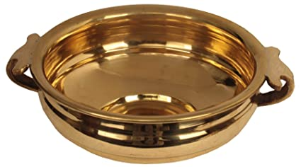 ShalinIndia Handmade Brass Uruli Bowl Suitable for Decorating, and Even Serving Food Artisan Crafted in India (2.5 x 5.75 Inch, Gold) Decorative Bowls at amazon