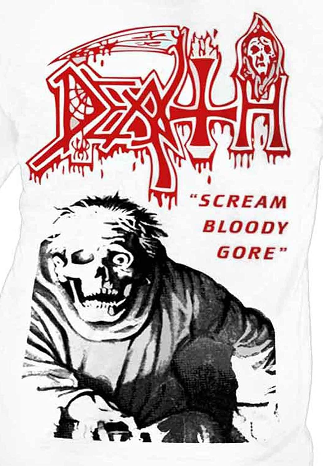 b9a8b54f4bbbde Amazon.com  Death  Scream Bloody Gore  (White) Long Sleeve Shirt -  Ultrakult Clothing (small)  Clothing