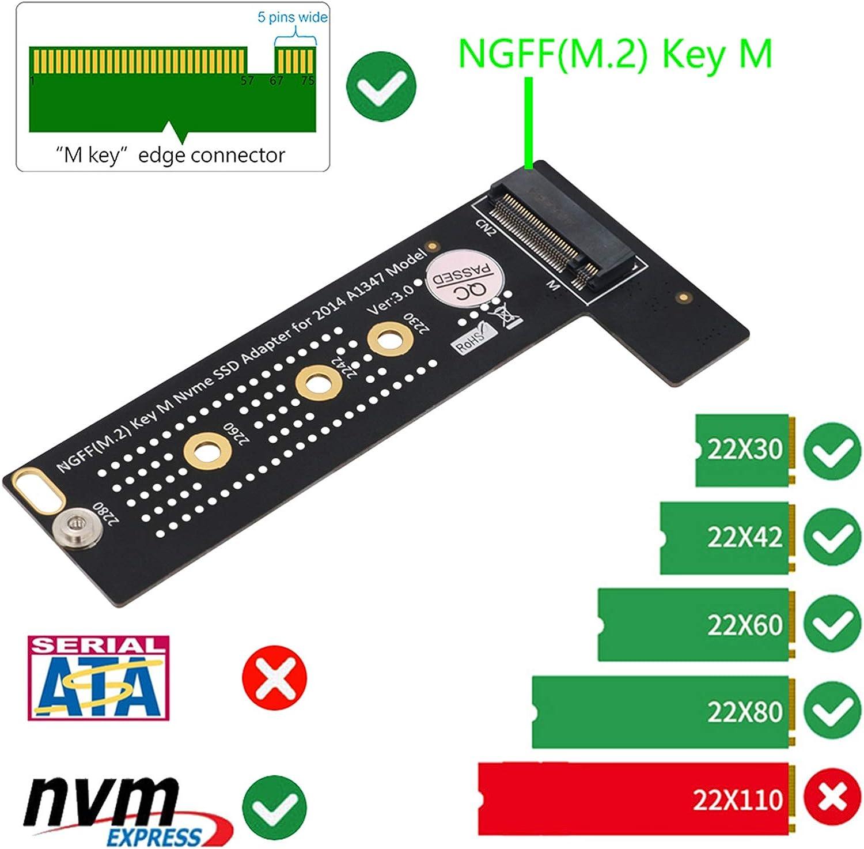 zrshygs Actualice M.2 NGFF M-Key NVME a A1347 SSD Converter Card Adapter para MacBook 2014