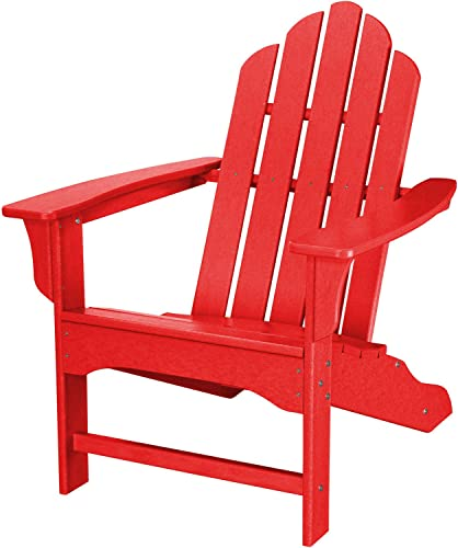 Hanover Outdoor Furniture HVLNA10SR All Weather Contoured Adirondack Chair, Sunset Red