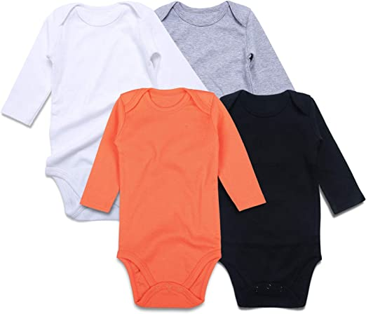 2 pack Organic 100/% Cotton Baby Sleepsuite Bodysuits Long Sleeve Boys Girls