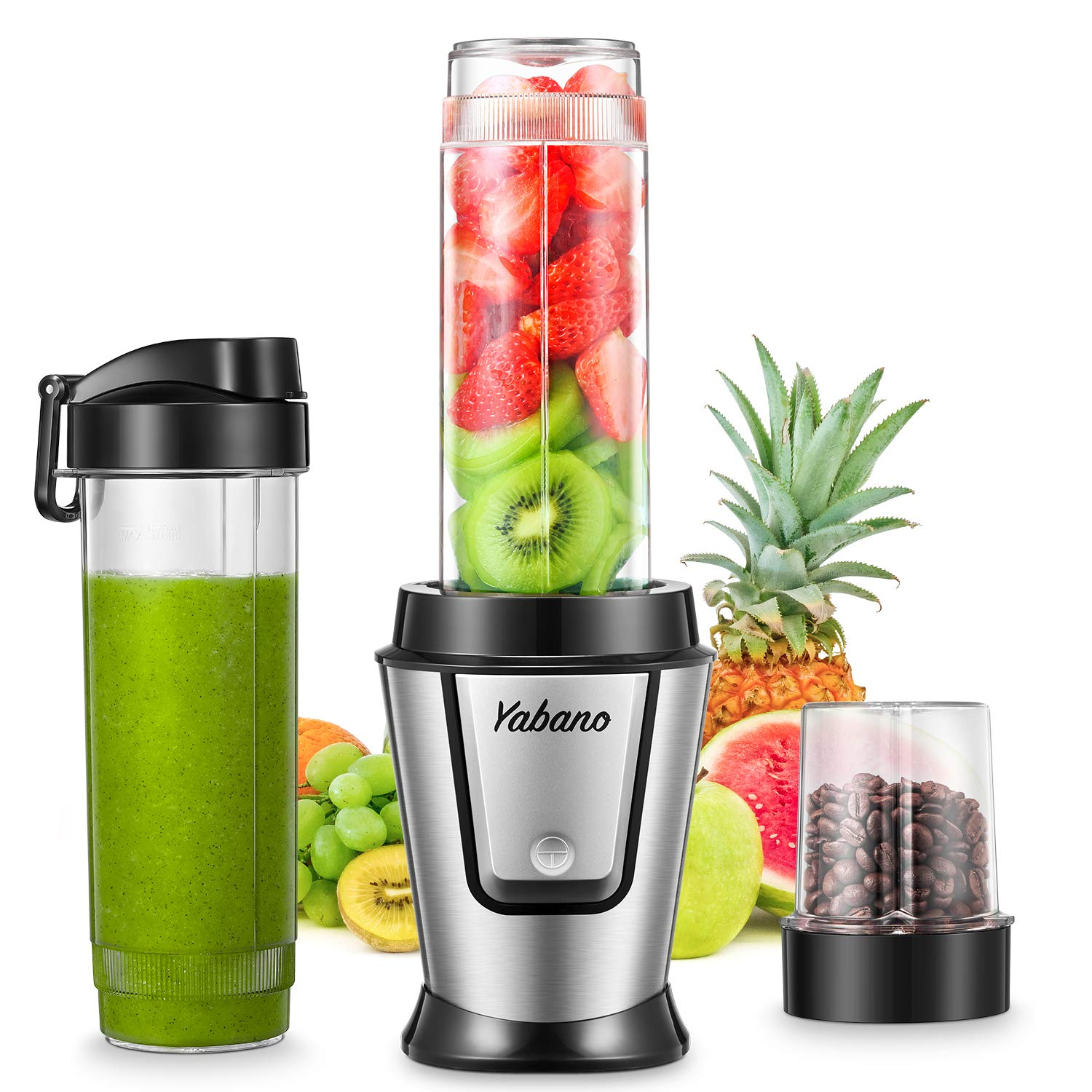Personal Blender with 2 x 20oz Travel Bottle and Coffee/Spices Jar, Portable Smoothie Blender and Coffee Grinder in One…
