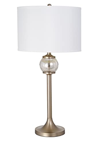 Catalina Lighting 20708-001 Modern Mercury Glass Orb and Metal Stick Table Lamp, LED Bulb Included, 33.5 H, Silver