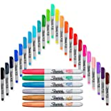 Electro Pop Permanent Markers, Ultra Fine Point (24 Count) with Metallic Permanent Markers (6 Count)