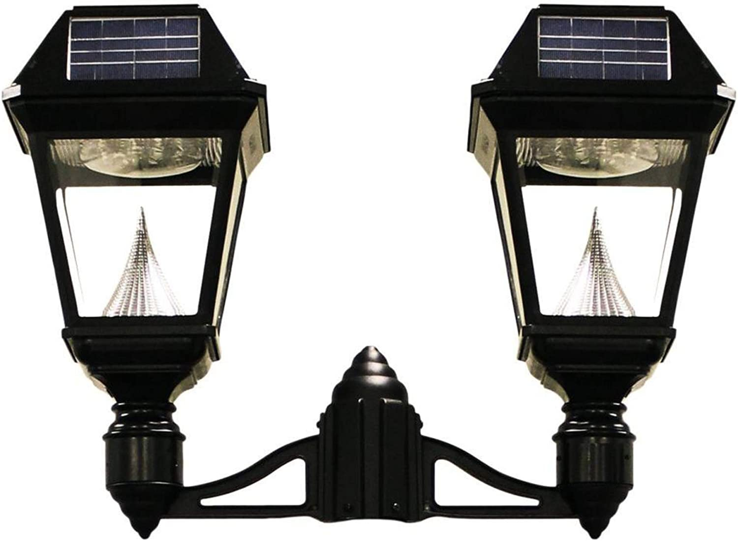GAMA SONIC Imperial II Single Head Solar Post Lamp 3 Fitter Mount GS-97NF LED Light Black