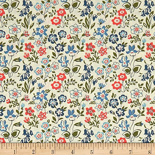 (Liberty Fabrics The Cottage Garden Lawn Games Blue Pink Green Fabric by the Yard)
