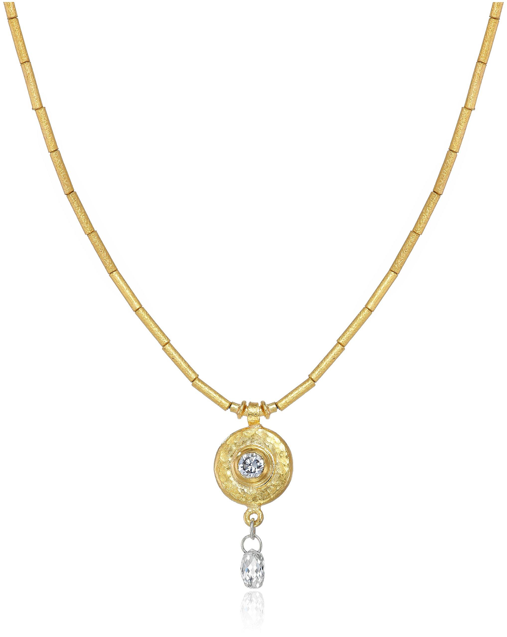GURHAN ''Droplet'' White Diamond High Karat Gold Tube Pendant Necklace, 16''