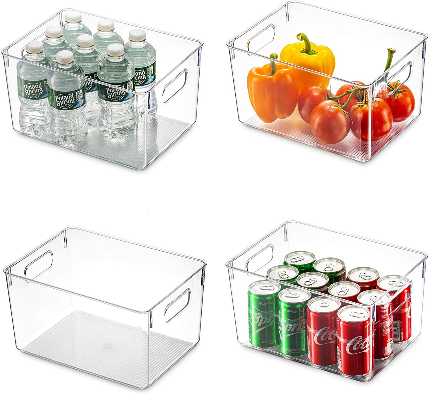 Set Of 4 Clear Pantry Organizer Bins/acrylic Box Household Plastic Food Storage Basket With Cutout Handles, For Kitchen, Countertops, Cabinets, Refrigerator, Freezer, Bedrooms, Bathrooms (Medium)