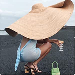 FWEIP Huge Sun Hat, Collapsible Sunshade Beach Straw Hats Anti-UV Sun Protection Foldable Straw Cap Cover Unisex ins Fashion Hottest Sell 80cm (Khaki)