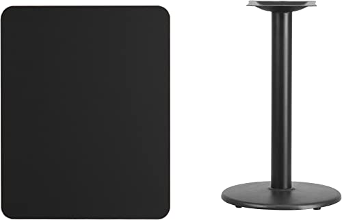Flash Furniture 24 x 30 Rectangular Black Laminate Table Top with 18 Round Table Height Base