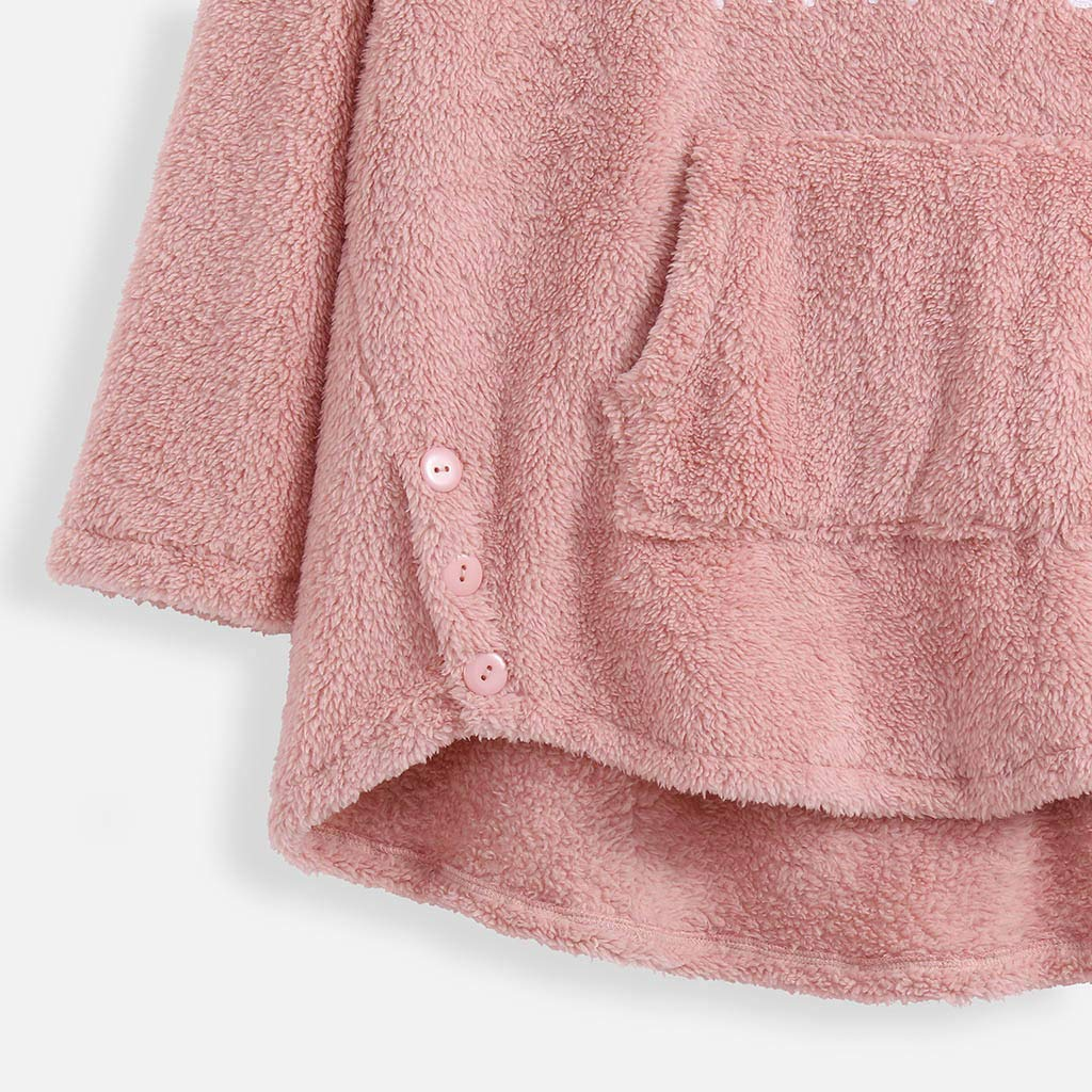 Eoeth Plus Size Womens Irregular Pullover Casual Long Sleeve Pocket Plush Bee Embroidered Solid Color Fleece Sweatshirt
