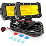 Nilight Led Light Bar 2PCS 5Inch 72W 10800Lumens Yellow Flood Beam Fog Driving Lamps Off-Road Lights with 16AWG Wiring…