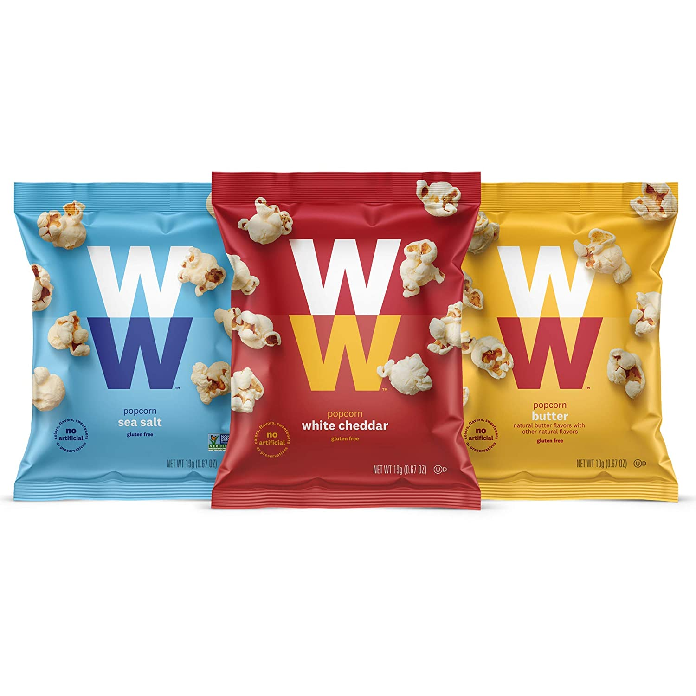 WW Popcorn Variety Pack - Sea Salt, White Cheddar & Butter Popcorn - Gluten-free, 2 SmartPoints - 6 of Each Flavor (18 Count Total) - Weight Watchers Reimagined