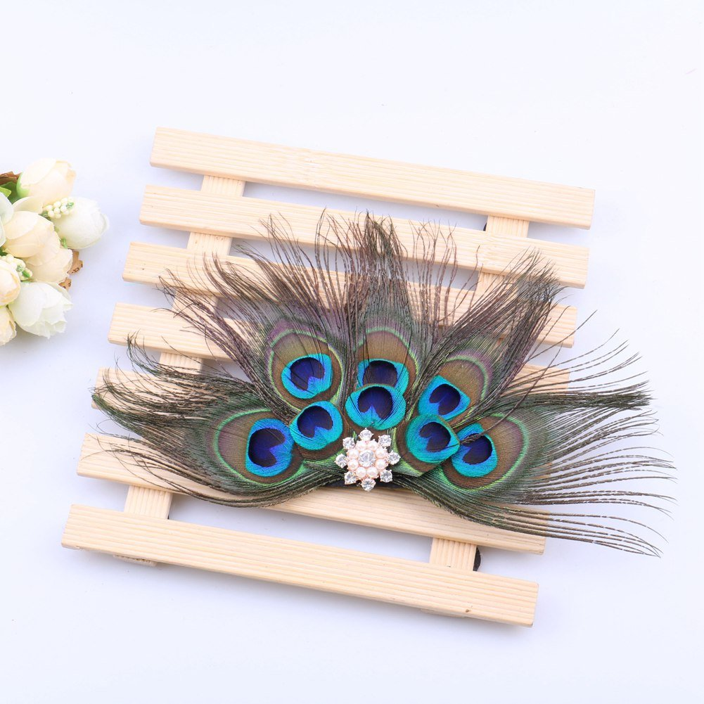 ACTLATI Retro Peacock Feather Rhinestone Fascinator Hair Clip Party Hairpin Roaring 20s Headpiece by ACTLATI (Image #6)