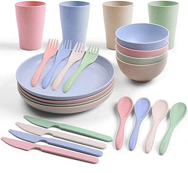 Odoland Juego de 24 piezas de vajilla de camping incluye platos, cuencos, tazas, tenedores, cucharas, cuchillos, juego de cubiertos de camping con ...