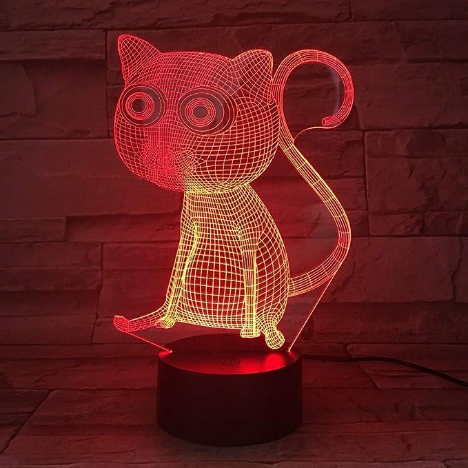 KangYD Cute Cat 3D Visual Night Light, Colorido, Acrílico, Ambient Lights, Remote 7 Color (Crack White)/ Lámpara de humor: Amazon.es: Iluminación