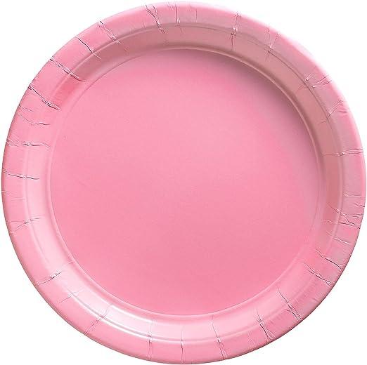 Candy Buffet de plástico de los platos Rosa Brillante x 6