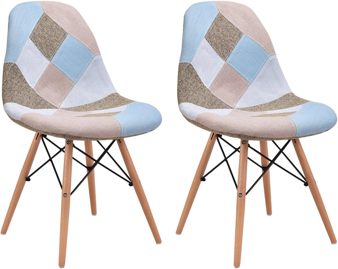 Giantex Linen Fabric Accent Dining Chairs Set of 2 Modern DSW Style Upholstered Leisure Chair Mid Century Chairs Armless Living Room Chair, 2 PCS