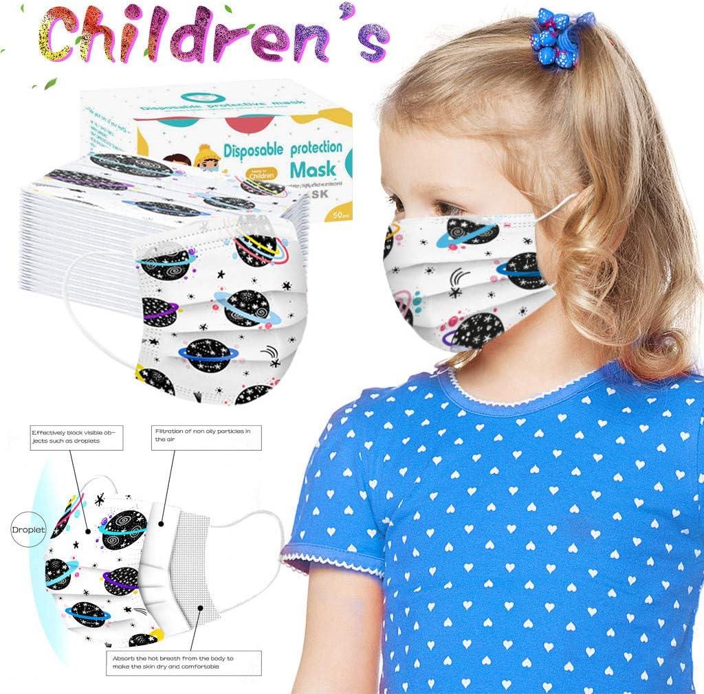 50//100 unidades por caja Beautynie Cubierta para boca desechable para ni/ños para actividades al aire libre 3 capas dise/ño de dinosaurios