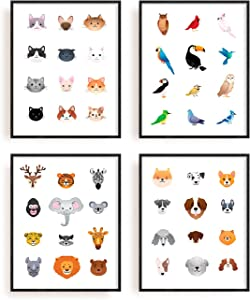 """Animal Nursery Art Prints Set of 4 By Carefree Bee 