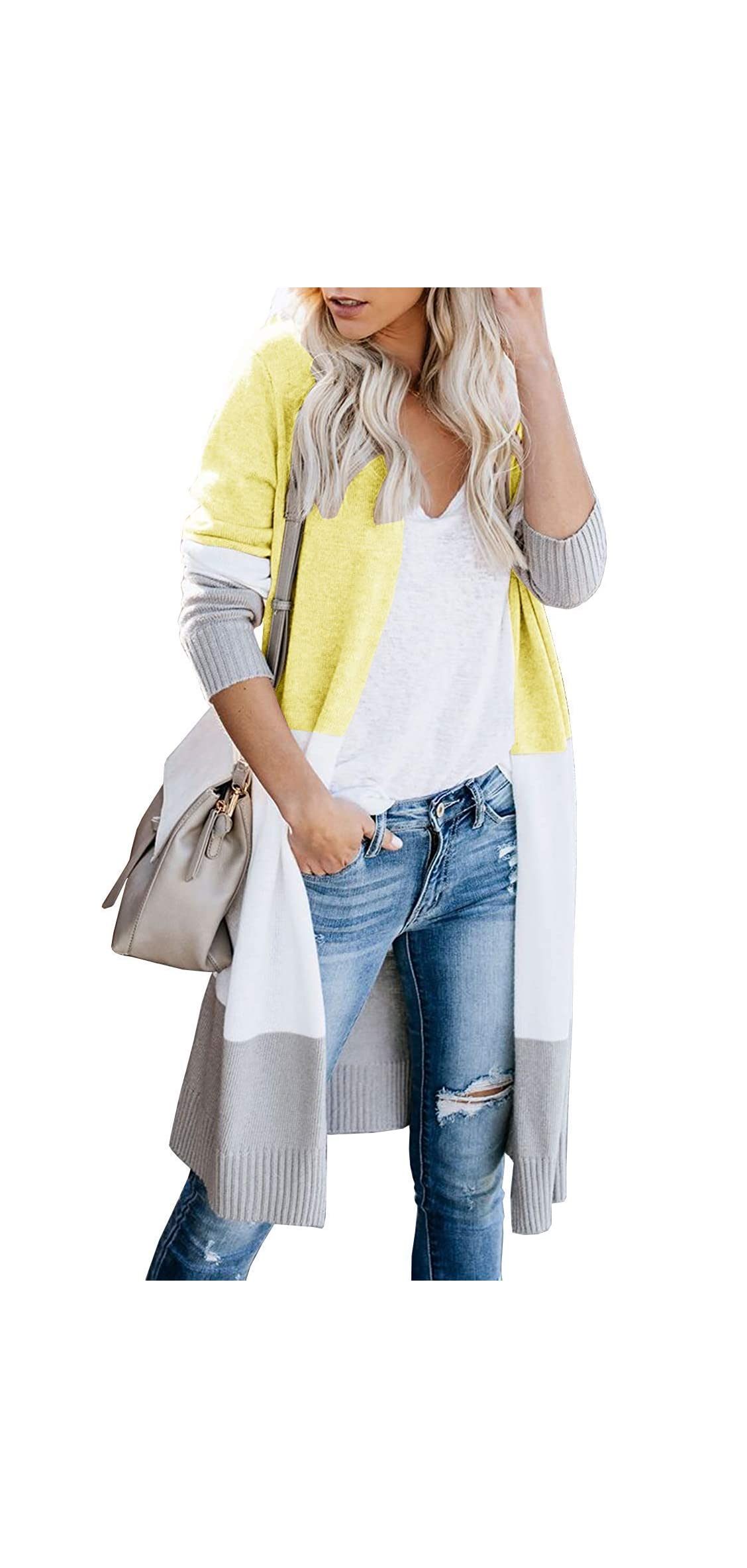 Womens Color Block Cardigan Long Sleeve Knee Length Open Front