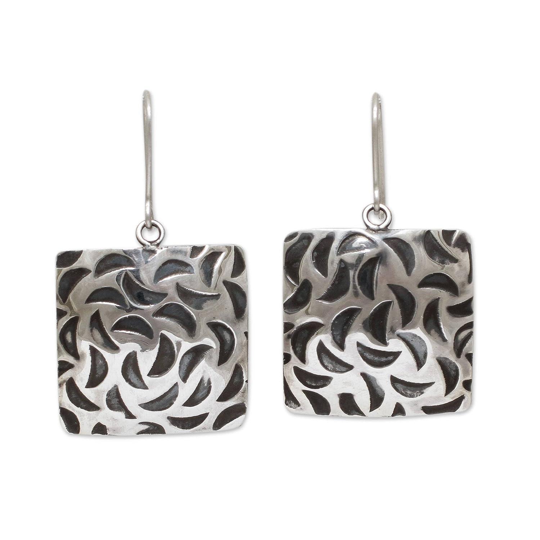 Squares in a Teardrop Dangle Earrings 925 Sterling Silver