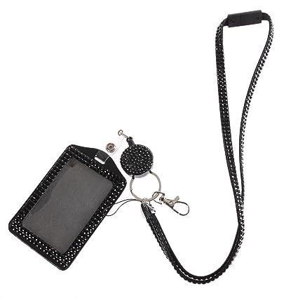 Purely Handmade Fashion Strap Black Bling Crystal Neck Lanyard Cute  Rhinestone ID Badge Clasp+ID Card Holder+Breakaway Safety Clasp+Retractable  Badge