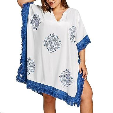 7ba0785fd7 Halijack Women Summer Beach Cover up, Fashion Floral Printed Tassel Lace  V-Neck Smock Swimsuit Swimwear Bikini Oversized Beachwear Shirt Dress  Bathing Suit ...