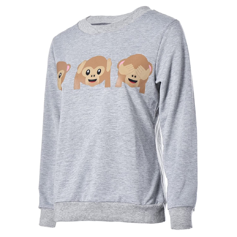 Malloom® Damen Affe Emoji Gedruckt Langarm Pullover Shirt Oberseiten Bluse:  Amazon.de: Bekleidung