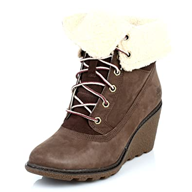 Timberland Womens Dark Brown Amston Roll Top Wedge Leather Boots
