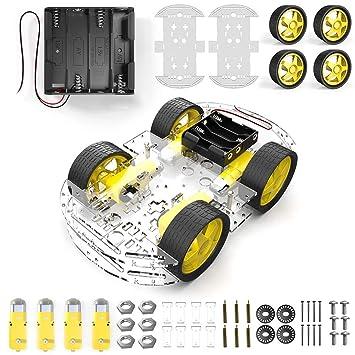 HeyNana 2 Ruedas y 2 Motores con Reductor para Coche Arduino Robot Raspberry