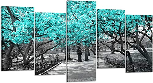 Kreative Arts 5 Pieces Black and Teal Tree Canvas Painting Wall Art Modern Landscape Picture Printed On Canvas Giclee Artwork Print