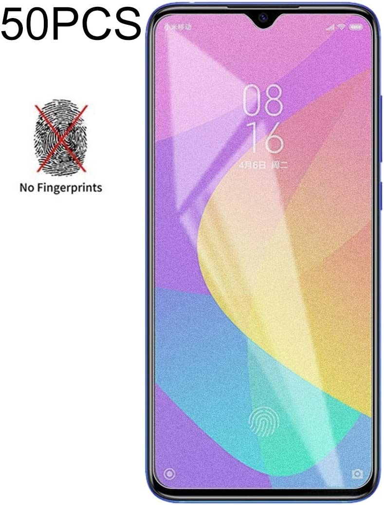 No Retail Package Durable JINGZ 50PCS Non-Full Matte Frosted Tempered Glass Film for Xiaomi Mi CC9