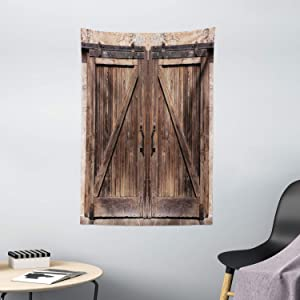"""Ambesonne Rustic Tapestry, Wooden Barn Door in Stone Farmhouse Image Vintage Desgin Rural Art Architecture Print, Wall Hanging for Bedroom Living Room Dorm Decor, 40"""" X 60"""", Beige"""