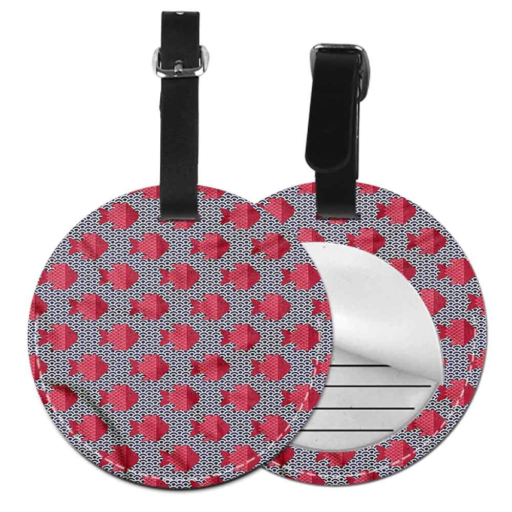 Favorite brand luggage tags Aquarium,Scale Pattern with Rhombus Address Tags