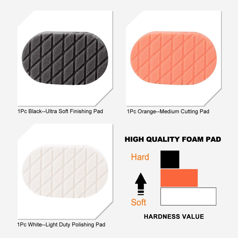 SPTA 1psc Black Diamond Hand Applicator Pad,Sponge Buffing Pads for Car Sanding Wax Buff