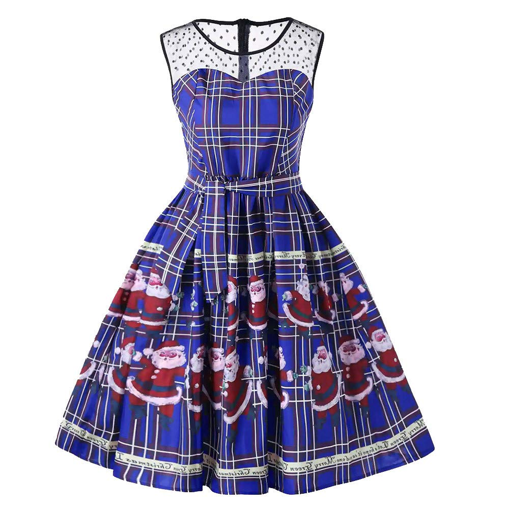 Women's Vintage Dress TIFENNY Christmas Plaid Santa Claus Sheer Printed Lace Insert Swing Dress for Party