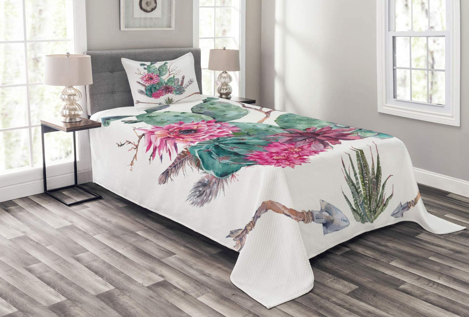 Ambesonne Cactus Bedspread, Exotic Natural Vintage Style Watercolor Bouquet Bohemian Arizona Vegetation, Decorative Quilted 2 Piece Coverlet Set with Pillow Sham, Twin Size, Green Pink
