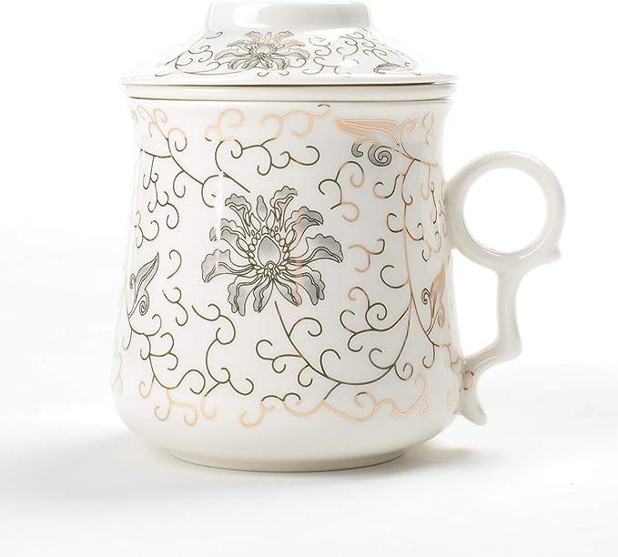 TEANAGOO M01-7 Taza de té Japonesa con Filtro y Tapa, 400 ml, Pan de Oro, infusor portátil de Acero Inoxidable, Filtro de infusión, Steeper Men Mom Home Decor Maker: Amazon.es: Hogar