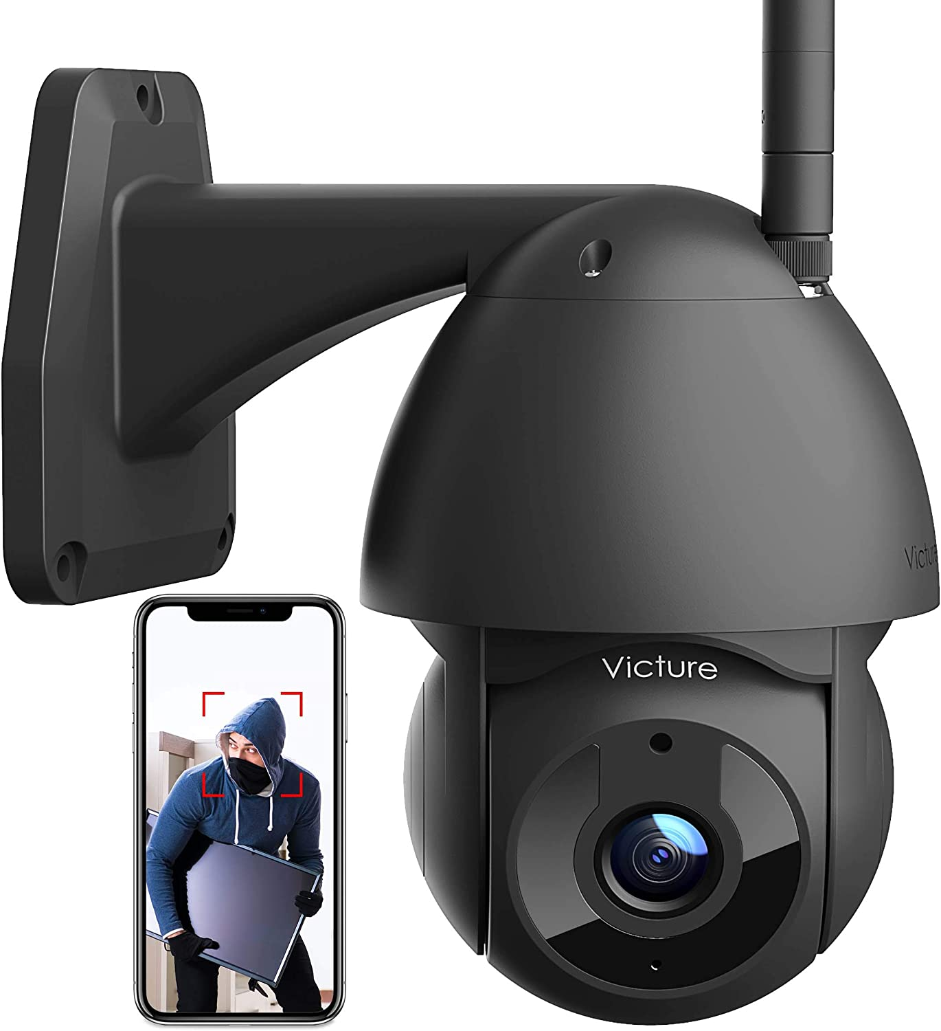 Security Camera Outdoor Victure 1080P WiFi Home Security Camera with Pan/Tilt 360° View Night Vision IP66 Waterproof Motion Detection Compatible with iOS/Android