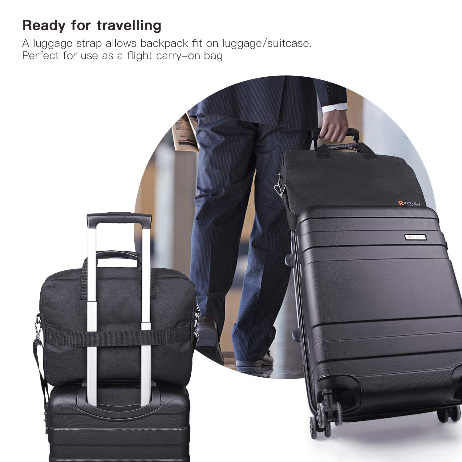 REYLEO 15.6 Inch Laptop Bag Travel Briefcase with Luggage Strap Water Resistant Shoulder Bag Business Messenger Briefcases for Men and Women Fits Laptop Computer Tablet, LCB1B by REYLEO (Image #5)