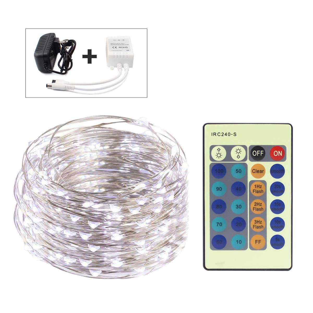 FUNHOUR LED String Lights 33ft 100LED Silver Wire Dimmable with Remote Control Xmas Waterproof Decorative Fairy LED Strip Lights for Christmas Outdoor,Wedding,Home,Party,Patio,Garden,Yard(Cool White) by FUNHOUR