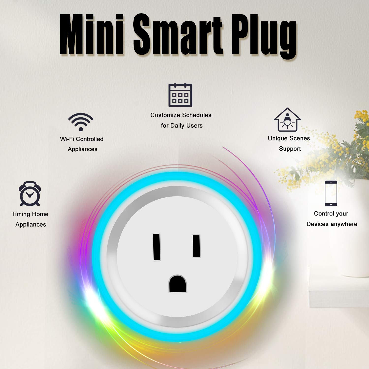 Zenic Wifi Smart Plug, Smart Socket Outlets Compatible with Alexa and Google Assistant, Timing Function Control Your Home Devices from Anywhere, No Hub Required With Scene Light – 3 Packs