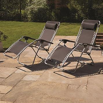 Kingfisher - Gravity jardín tumbona sol silla tumbona, negro: Amazon ...