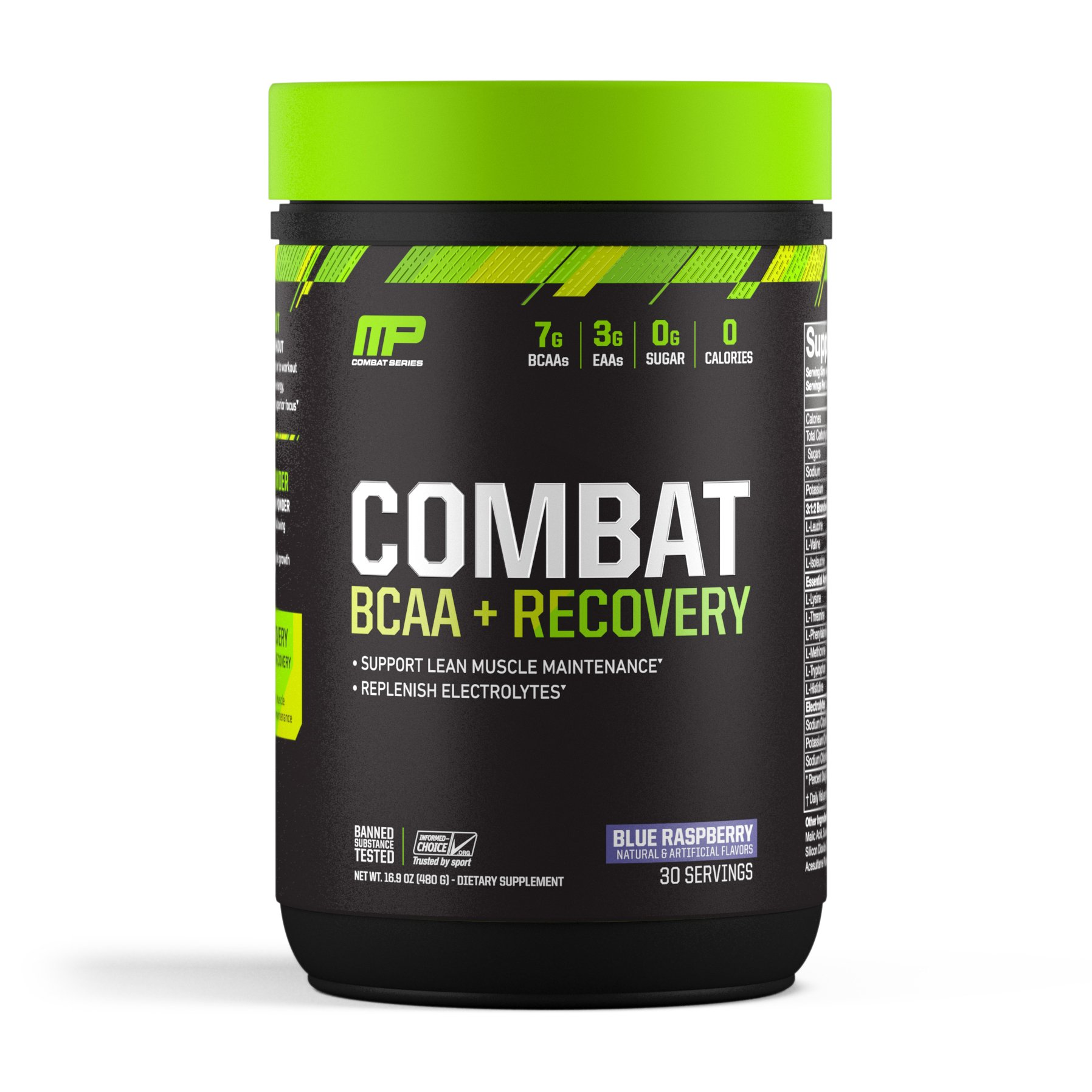 MusclePharm Combat BCAA + Recovery, BCAA 10 Grams, Electrolytes, Post-Workout Recovery, BCAA Post-Workout Powder, Enhanced Recovery, Pre-Workout Formula, Blue Raspberry, 1.99-Pounds, 30 Servings by Muscle Pharm (Image #1)