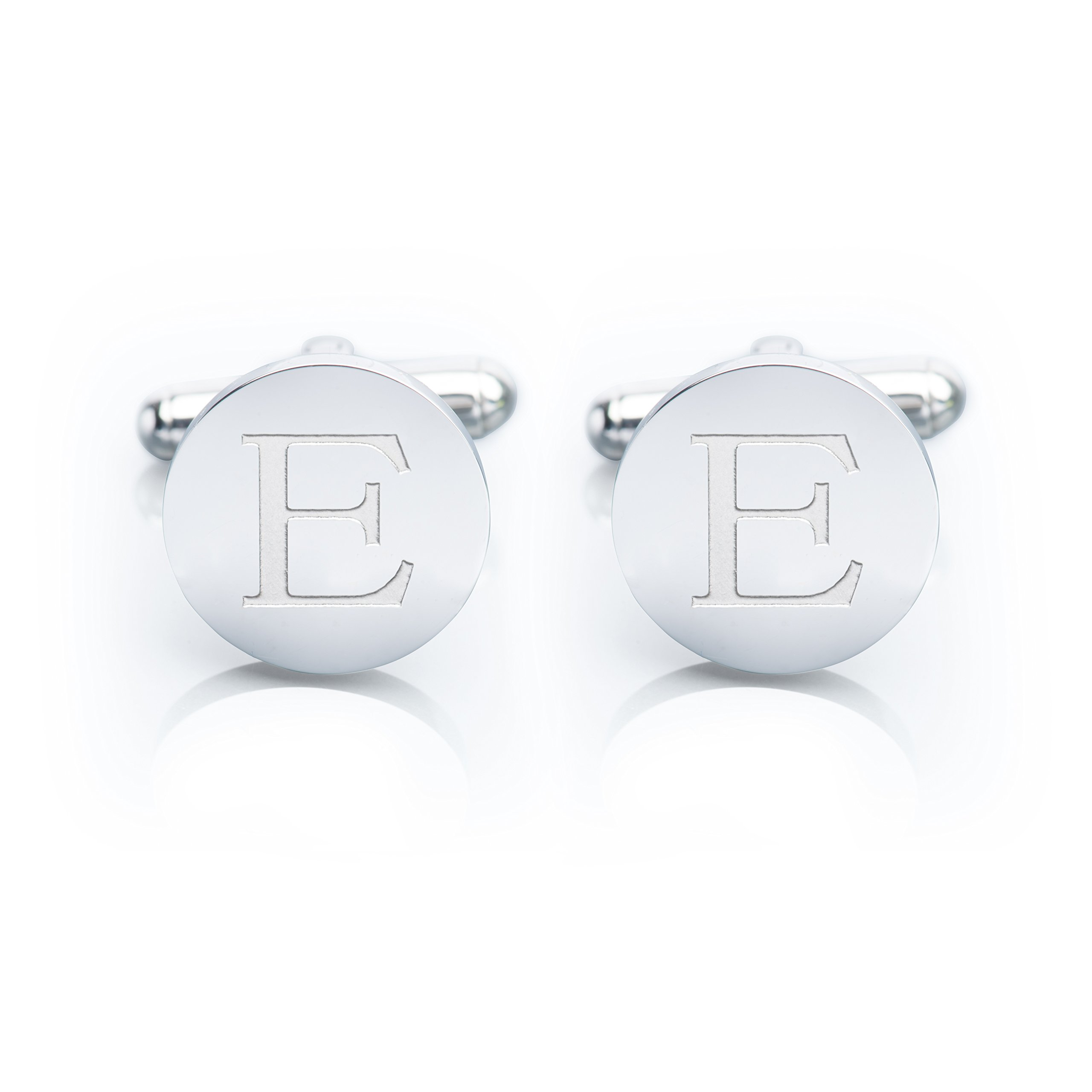 Men's 18K White Gold-Plated Engraved Initial Cufflinks with Gift Box– Premium Quality Personalized Alphabet Letter (E - White Gold) by Iron & Oak (Image #1)