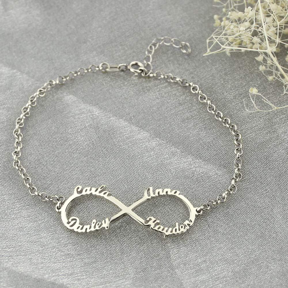 MTXPLUM Personalized Infinity Charm Pendant 4 Names Bracelets Custom Made with 4 Names