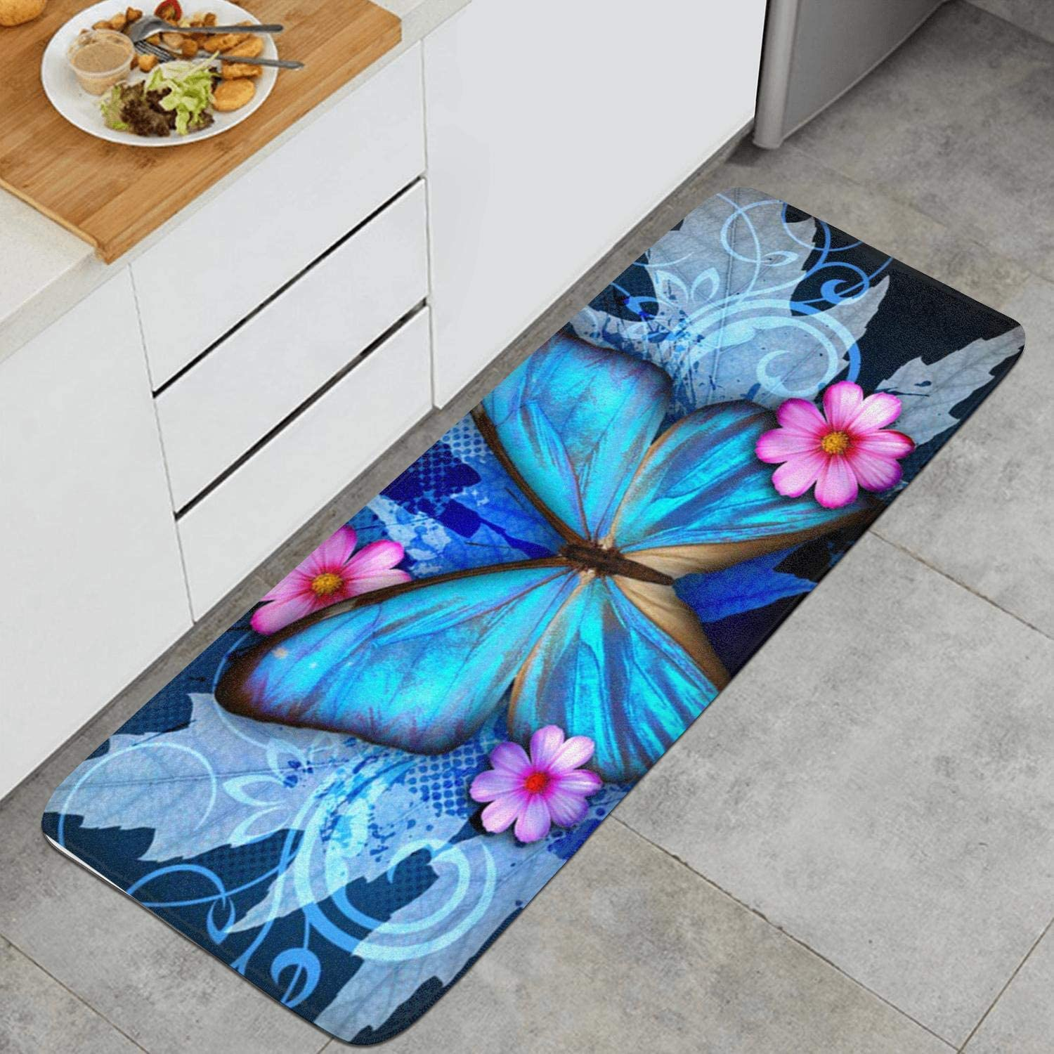 Amazon Com Kitchen Mat Kitchen Rugs Cushioned Chef Soft Non Slip Rubber Back Floor Mats Washable Oil Proof Doormat Bathroom Runner Area Rug Carpet 17 7 X 47 2 Butterfly Blue Kitchen Dining