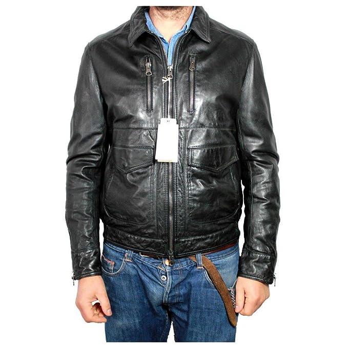 314a4cbc4216bf MAURO GRIFONI giubbino nero 100% pelle agnello imbottitura 100% poliestere  TG.50: Amazon.it: Abbigliamento