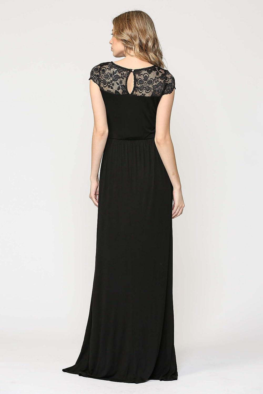 HELLO MIZ Womens Maxi Maternity Dress with Lace Yoke